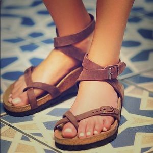 Free People Yara Birkenstock Sandals Brown 38 8